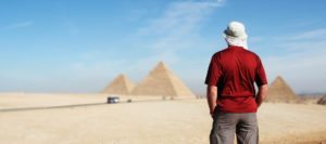 Trip leader at Gaza pyramids