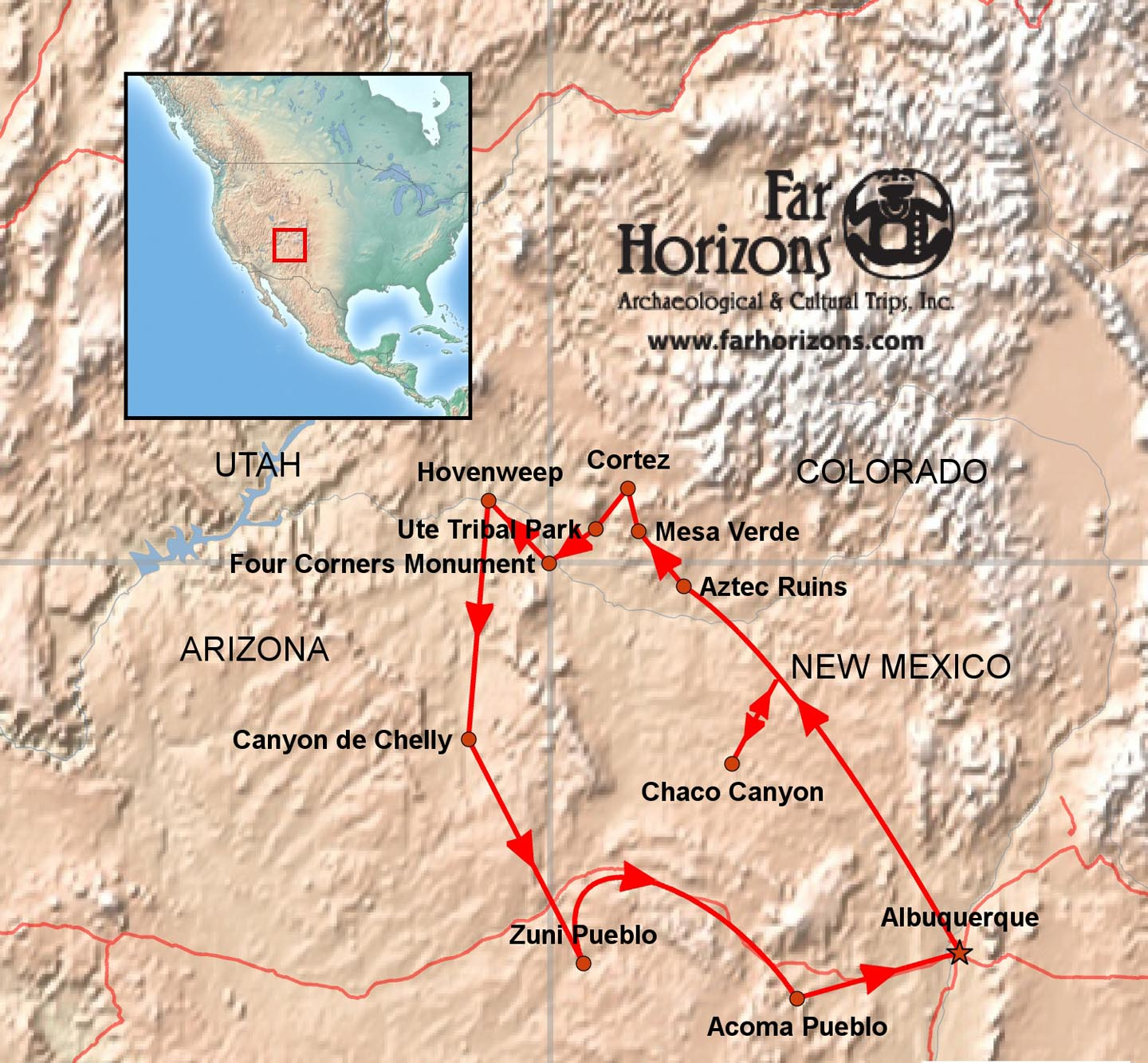 Map Of Southwest Arizona.American Southwest Tour Canyon De Chelly Chaco Mesa Verde Ute Navajo