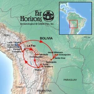 Bolivia-Tour-map-La Paz-Inkallaqta-Tiwanaku-Copacabana