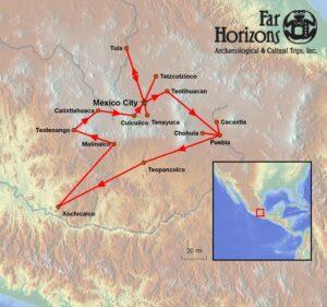 Central-Mexico-Tour-Map-Toltec-Tula-Calixtlahuaca-Malinalco-Teotenango