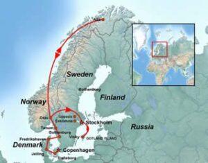 Denmark-Norway-Sweden-Tour-Scandinavian-Tanum-Rock-Engravings-Konborg-Castle-Viking-Fortress-Alta-Midnight-Sun-Map