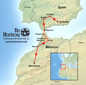 Spain and Morocco Tour Map - Far Horizons Archaeological & Cultural Trips