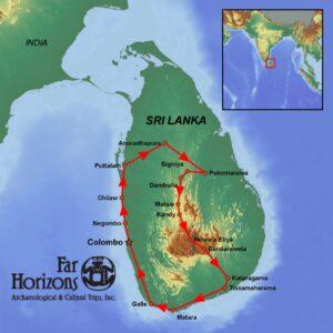 Far Horizons tour of Sri Lanka map