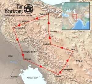 Map of Iran Far Horizons trip