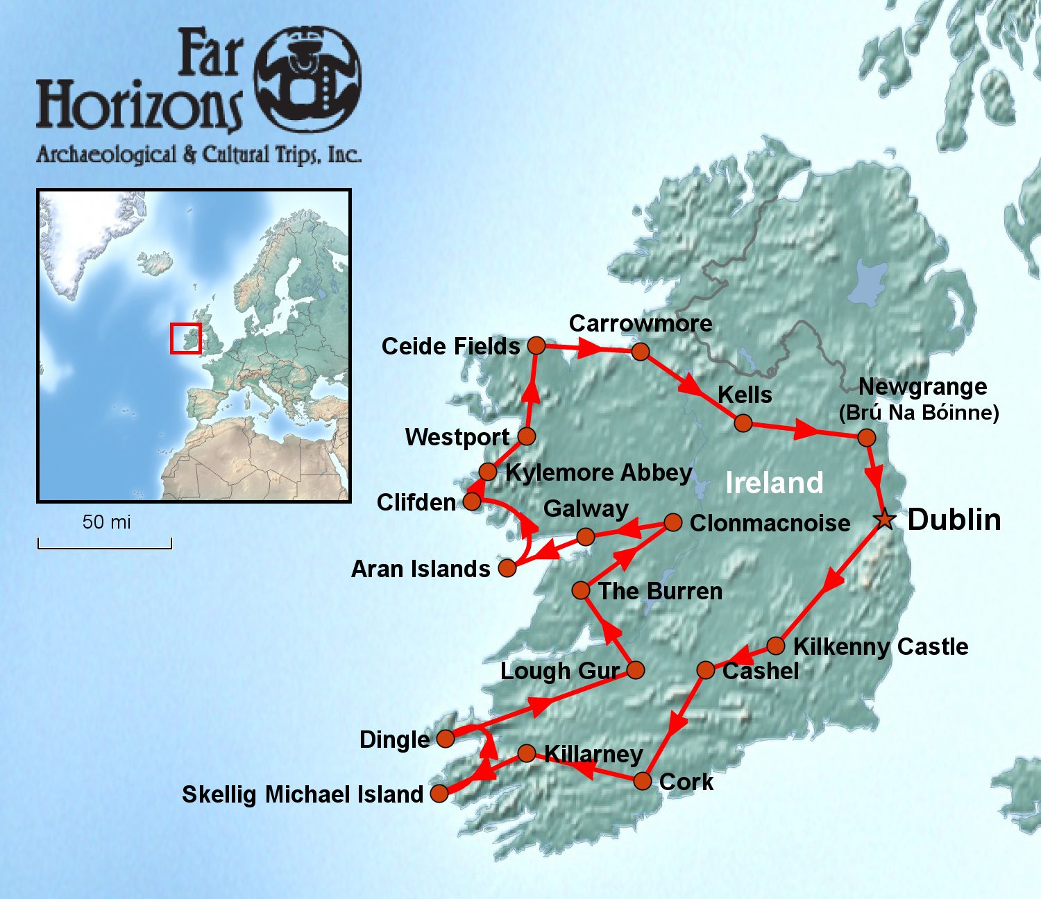 Ireland Tour Map Far Horizons