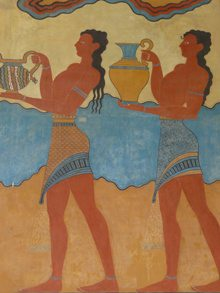 Greek-Isles-Myth-Tour-Santorini-Cyclades-Crete-Santorini-Aegina-santorini-mural-serving-ladies