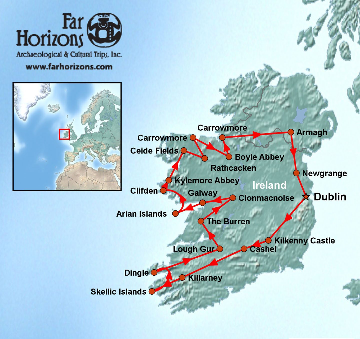 Map Of Ireland With Islands.Ireland Tour Skellig Michael Aran Islands Burrens Megalithic Tombs