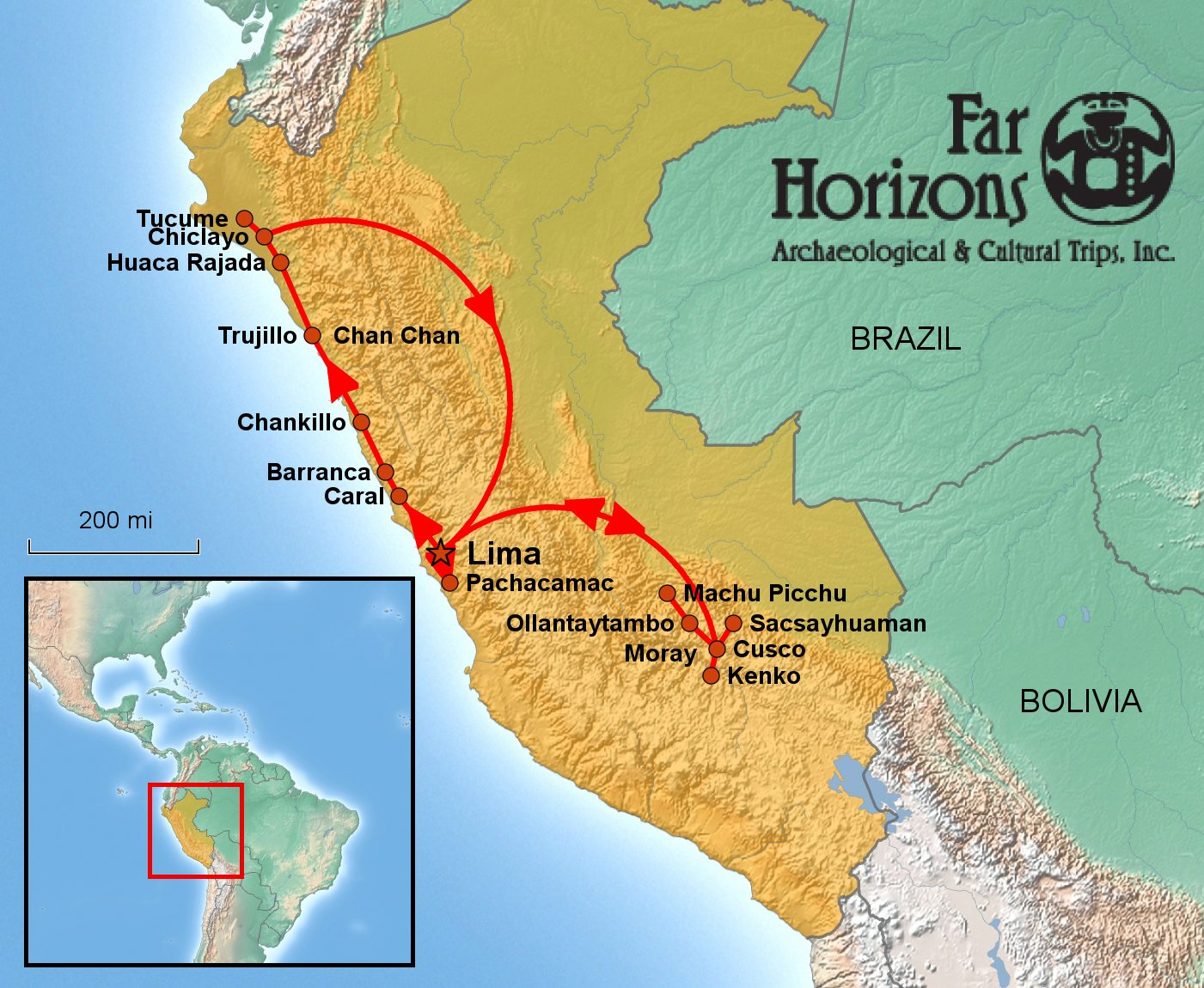 Far Horizons Peru Tour Map Far Horizons - Where is peru