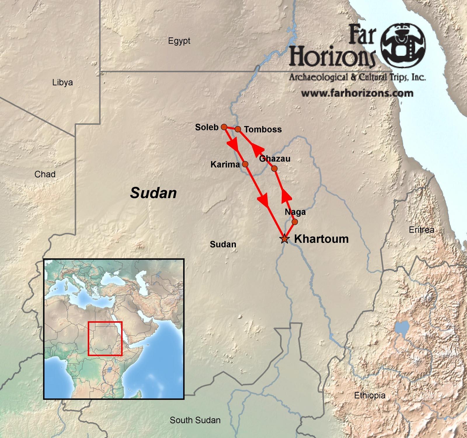 SudanTourNileRiverTombosElKurruKawaMap Far Horizons - Nile river map world atlas