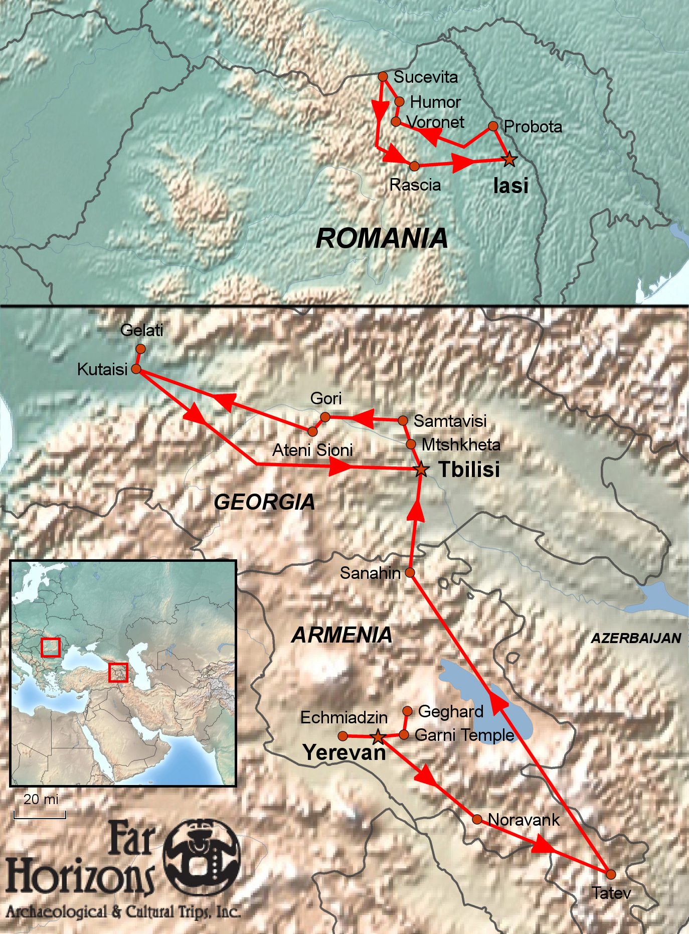Romania, Armenia, Georgia Tour Map