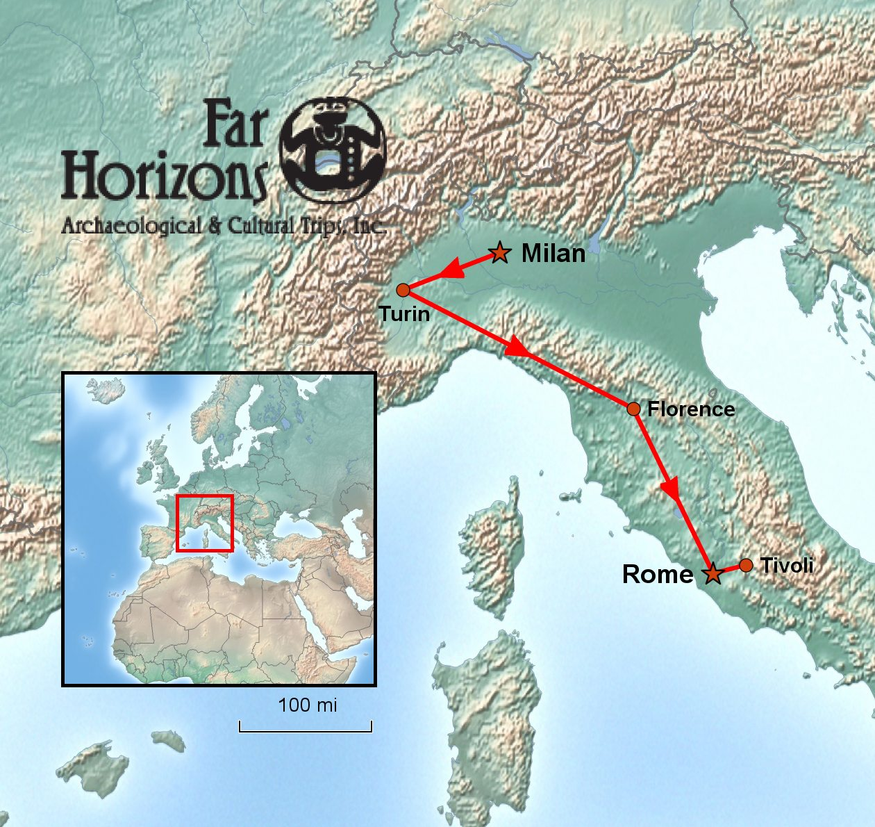 Egypt In Italy Tour Turin Florence Rome Far Horizons - Egypt and rome map