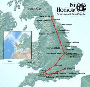 Cathedrals of England Tour Map