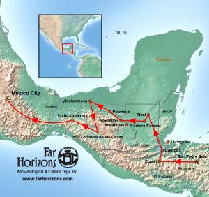 Honduras, Guatemala & Mexico Tour - Capital Cities of the Ancient Maya Map