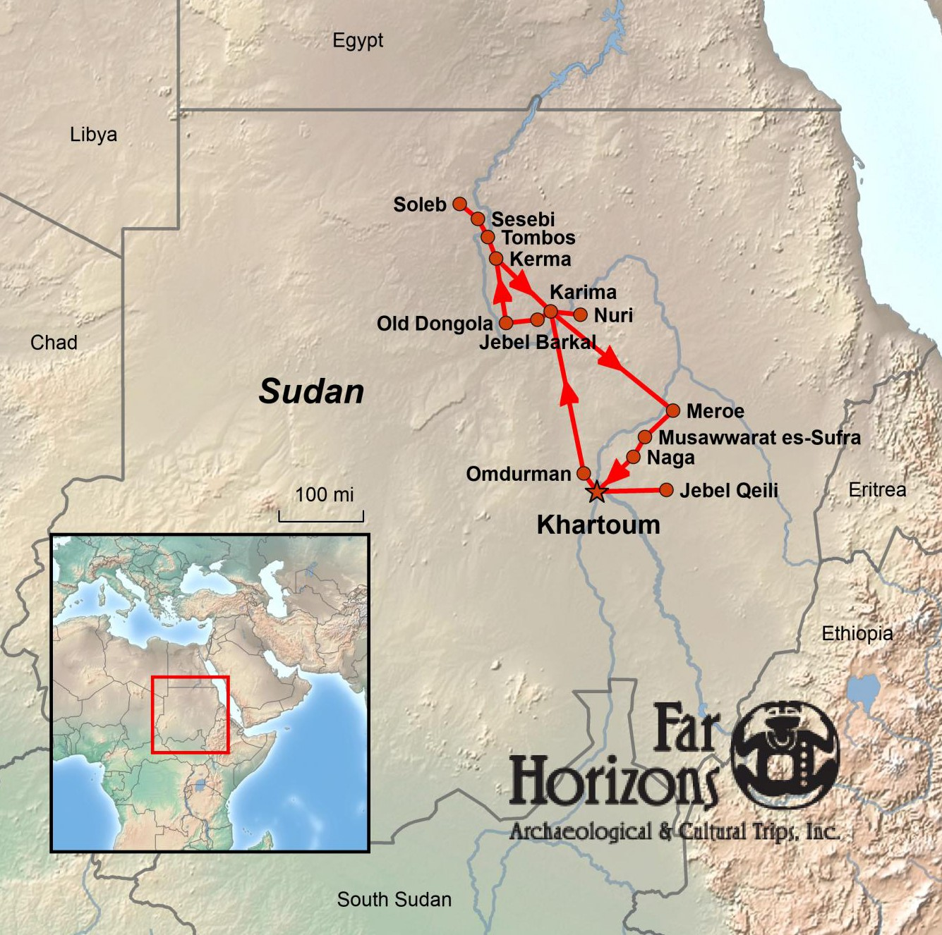 Sudan: An Exploration of Ancient Kush Tour Map