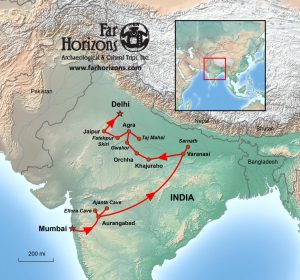 Far Horizons Northern India tour map
