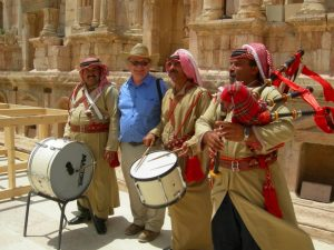 Gary Rollefson and musicians Far Horizons Jordan Archaeology tour